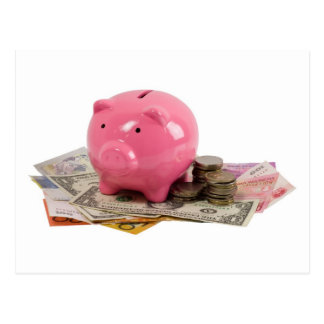 Piggy bank and money postcard