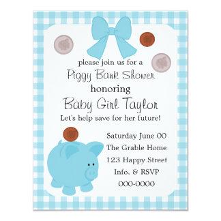 "Piggy Bank Baby Shower 4.25"" X 5.5"" Invitation Card"