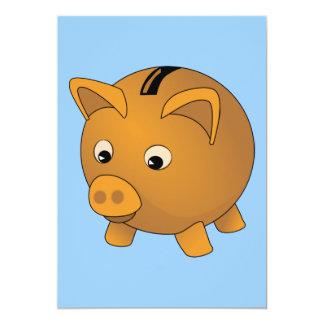 "Piggy-bank cartoon 5"" x 7"" invitation card"
