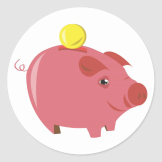Piggy Bank Classic Round Sticker