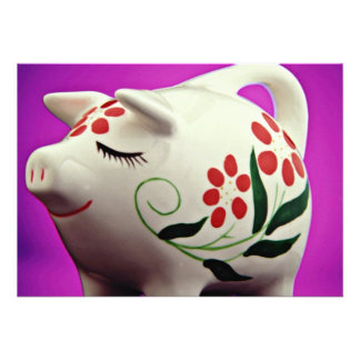 Piggy bank  flowers personalized invitations
