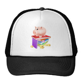 Piggy bank on books mesh hat
