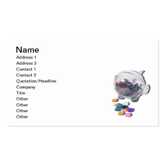 Piggy Bank with Colorful Chips Pack Of Standard Business Cards