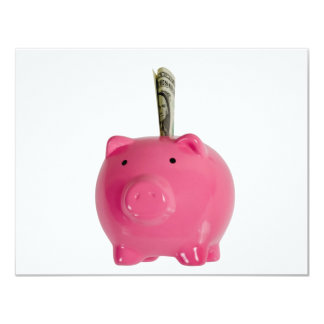 Piggy bank with money personalized invitation
