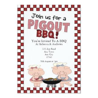 Piggy BBQ Party 13 Cm X 18 Cm Invitation Card
