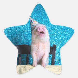 Piggy Birthday Stickers! Star Sticker