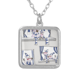 piggy blues forever silver plated necklace