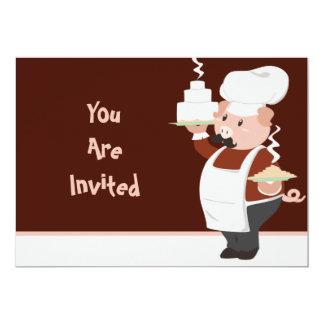 """Piggy Chef Invitation 5"""" X 7"""" Invitation Card"""