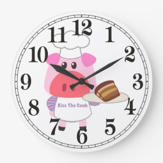 Piggy Chef  Round (Large) Wall Clock