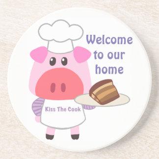 Piggy Chef Sandstone Drink Coaster