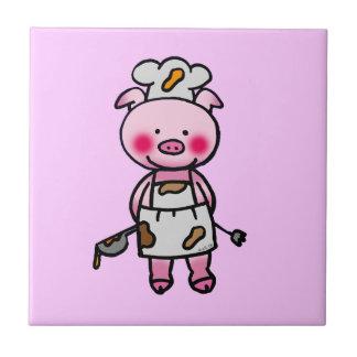 piggy chef small square tile