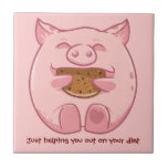 Piggy eating cookie helping on diet tile