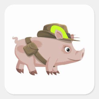 Piggy Explorer Square Stickers