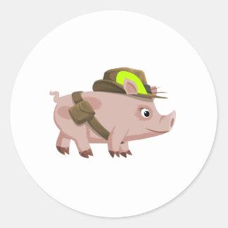 Piggy Explorer Round Stickers