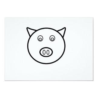 Piggy face 13 cm x 18 cm invitation card