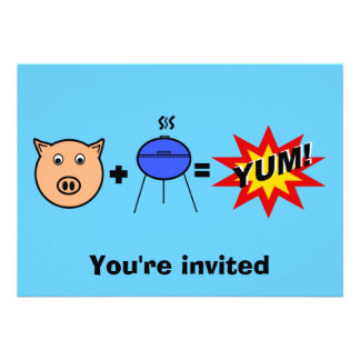 Piggy face barbeque on blue personalized invites