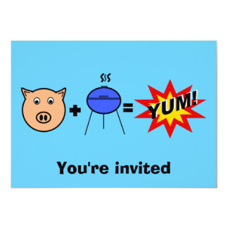 """Piggy face barbeque on blue 5"""" x 7"""" invitation card"""