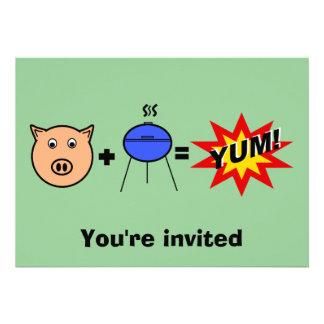 Piggy face barbeque on green custom invitation