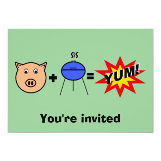 """Piggy face barbeque on green 5"""" x 7"""" invitation card"""