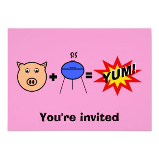 """Piggy face barbeque on pink 5"""" x 7"""" invitation card"""