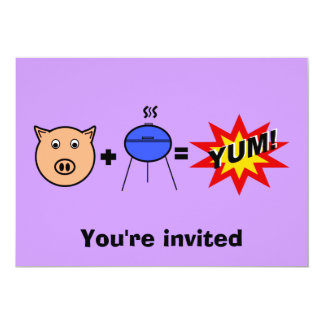 """Piggy face barbeque on violet 5"""" x 7"""" invitation card"""