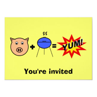 Piggy face barbeque on yellow 13 cm x 18 cm invitation card