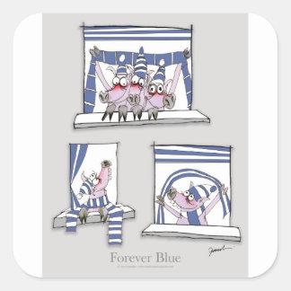 piggy forever blue square sticker
