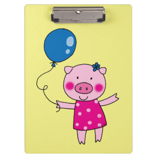 piggy girl with a balloon clipboards
