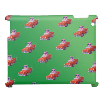 Piggy in Little Red Car Green case Case For The iPad