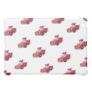 Piggy in Little Red Car White Ipad mini case