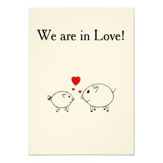 PiGgy in Love. 13 Cm X 18 Cm Invitation Card