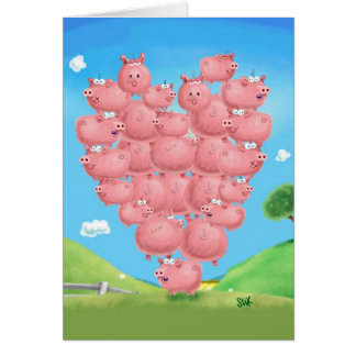 Piggy Love Greeting Cards