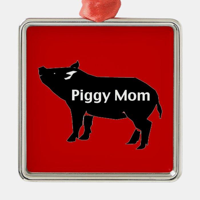 Piggy Mum Silver-Colored Square Decoration
