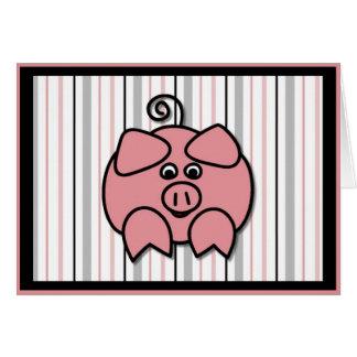 Piggy on Stripes Greeting Card