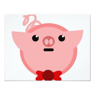 piggy pig 11 cm x 14 cm invitation card