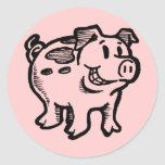 Piggy Pig Round Sticker