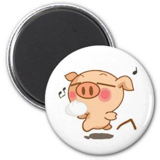 Piggy Pirouettes Refrigerator Magnet
