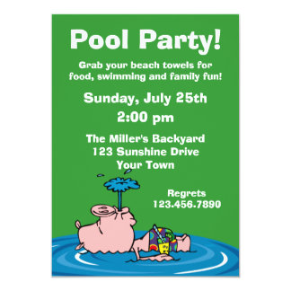 Piggy Pool Party Personalized Invitations