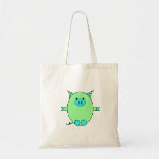 Piggy Power - Blue and Green Piggies Tote Bag