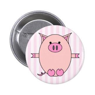 Piggy Power - Pink Piggies and Stripes 6 Cm Round Badge