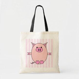 Piggy Power - Pink Piggies and Stripes Budget Tote Bag