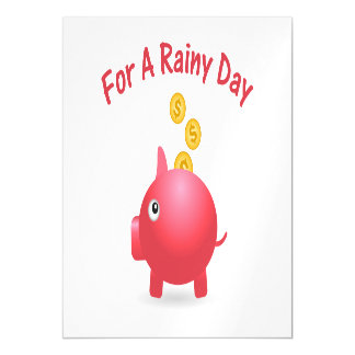 Piggy Saving For A Rainy Day Magnetic Invitations