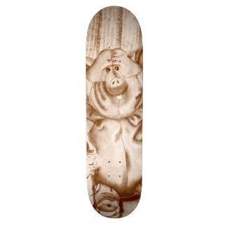 Piggy Stuffed Animal Brown Charcoal Drawing Skate Board