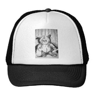 Piggy Stuffed Animal Charcoal Drawing Mesh Hat