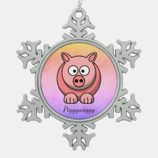 PiggyWiggy Little Pigling Pastel Cute Piglet Snowflake Pewter Christmas Ornament