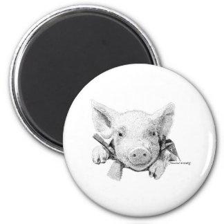 Piglet 6 Cm Round Magnet