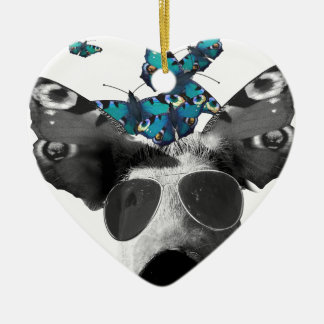 Piglet And Butterfly Pig Animal Christmas Ornament