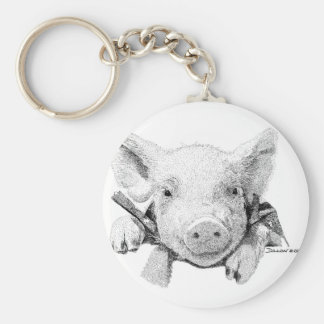 Piglet Basic Round Button Key Ring