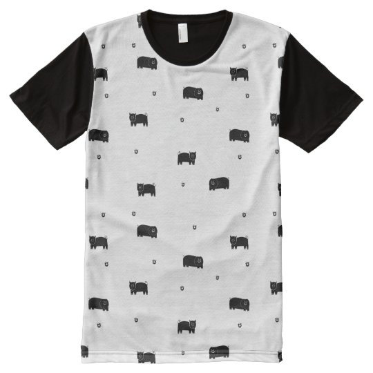 Pigs and Apples Pattern All-Over Print T-Shirt