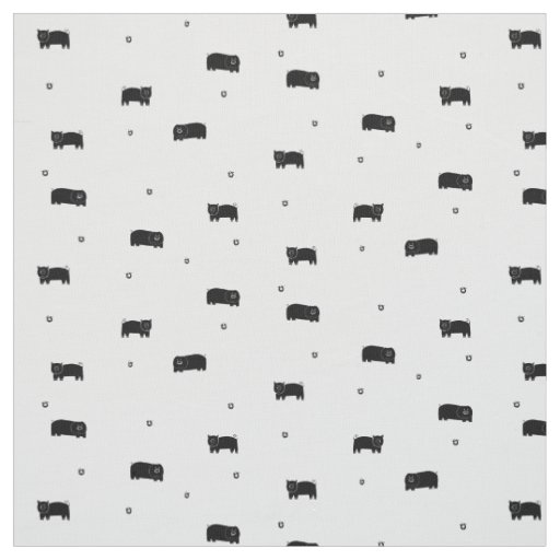 Pigs and Apples Pattern Fabric